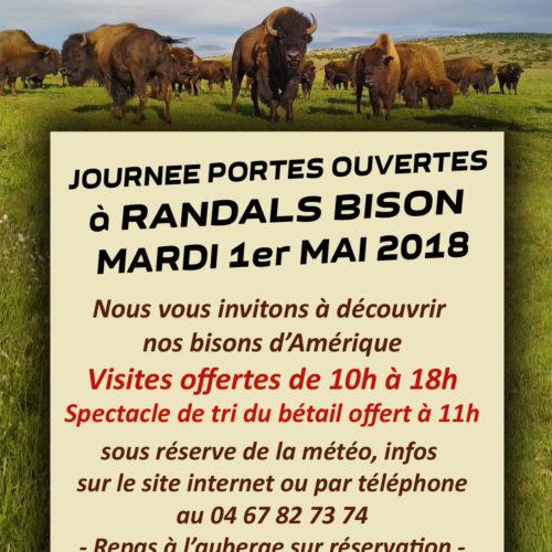 Journée Portes Ouvertes à Randals bison le 1er mai 2018